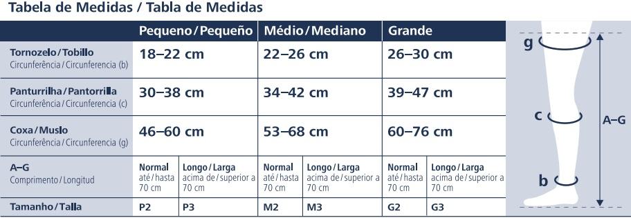 Tabela de Medidas Meia Calça Ever Sheer Sigvaris