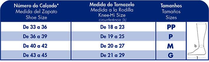 Tabela de Medidas Meia Actitude 190B: